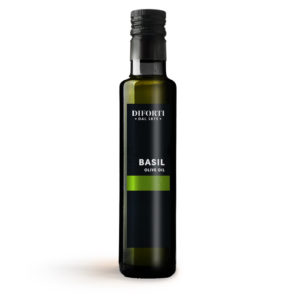 Italian extra virgin olive oil infused with basil