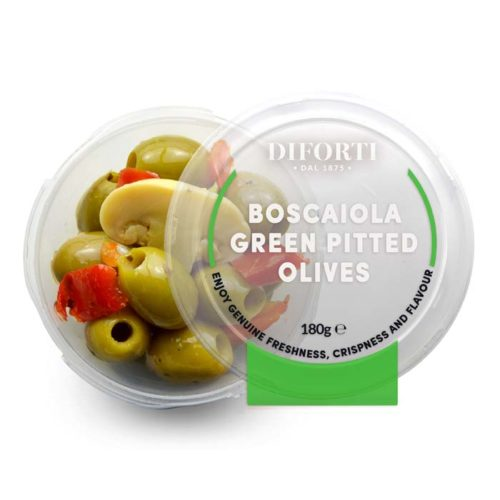 Boscaiola Green Pitted Olives-180g-Diforti