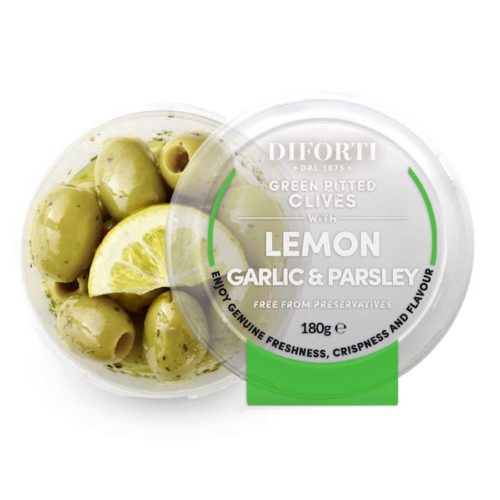 Lemon,-Garlic-&-Parsley-Green-Pitted-Olives-180g-Diforti