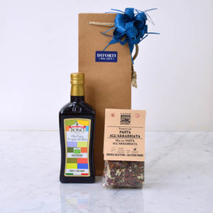 Sicilian Organic extra virgin Olive oil & Arrabiata condiment gift bag
